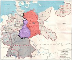 Allied-occupied Germany . The Allied zones of occupation in post-war Germany, highlighting the Soviet zone (red), the inner German border (black line), and the zone from which American troops withdrew in July 1945 (purple). The provincial boundaries are those of pre-Nazi Weimar Germany, before the present Länder (federal states).