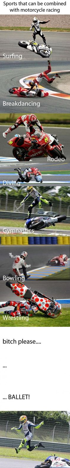 Sports that can be combined with motorcycle racing! #cyclecrunch #bikerhumor