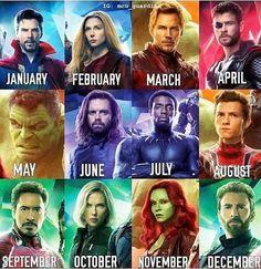 The month you were born is your infinity hero🎂 Mine's The Hulk! Marvel Funny, Marvel Memes, Marvel Avengers, Thor, New Superheroes, Iron Man Wallpaper, Superhero Memes, Romanogers, Black Widow