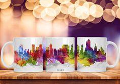 Watercolor City Skyline Mug Tulsa Oklahoma Tea Coffee Cup