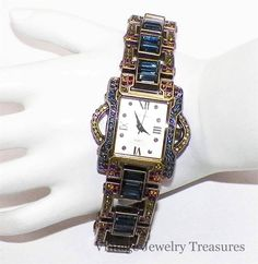 Heidi Daus Multi Color Blue Baguette Crystal Bronze Watch New HSN #HeidiDaus #Dress