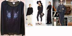 Black trasparent t-shirt with cats and stars printing bought on sale for spring - summer 2015 , OVS Italy --- t-shirt nera con stampa e retro trasparente comprata in saldo per Estate 2015, OVS Italia