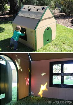 This cardboard house is AWESOME. Love the whole post, such a neat idea.