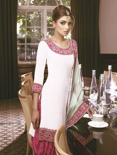 White, Pink and Sea Green Punjabi Suit. Designer: Chantique. Exclusively available at Signature Ambry. Image features in Asian Bride Magazine.  Asian Fashion, Indian Wear, Desi wear.