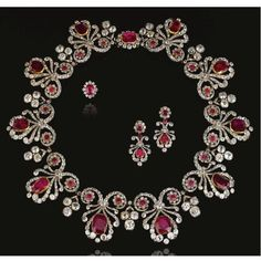 Gorgeous Ruby and Diamond Parure, 1820s.