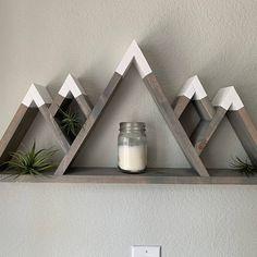 Wooden Wall Decor, Wooden Diy, Crafts To Do, Wood Crafts, Minwax Wood Stain, Mountain Shelf, Wood Company, Shelf Wall, Nursery Room Decor