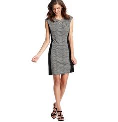Loft - LOFT work it dresses - Tiny Waves Print Colorblocked Dress