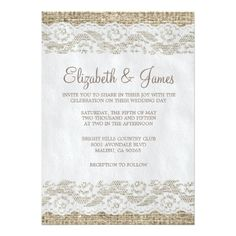 Brown Rustic Lace Wedding Invitations