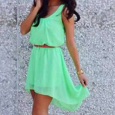 obsessed with high-low dresses and mint green!