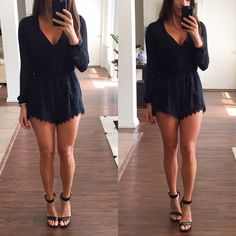 Black Romper Black with sheer long sleeves romper. This romper looks great dressy or casual. The back is slightly longer than the front. New with tags Astr Dresses