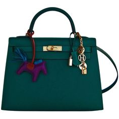 Pre-Owned Hermes 32cm Malachite Gold Sellier GHW Emerald Epsom Kelly ($23,750) ❤ liked on Polyvore featuring bags, handbags, accessories, сумки, green, gold handbag, green handbags, multi colored handbags, gold evening purse and hermes handbags