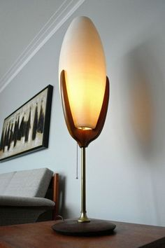 scarce mid-century modern Rotaflex table lamp that features a George Nelson style cigar shaped plastic shade with brass and walnut or and teak trim. Mid Century Modern Lamps, Mid Century Modern Living Room, Mid Century Lighting, Mid Century House, Living Room Modern, Modern House Design, Modern Interior Design, Contemporary Interior, Modern Contemporary