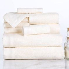 Somerset Home Ribbed Egyptian Cotton 10-Piece Towel Set, White