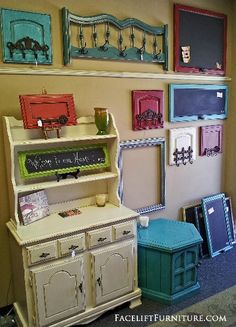 """The sky is the limit with how re-purposed pieces can be transformed into coat racks, magnetic chalk boards, key chain holders and accents. ~ Create this look on your re-purposed piece!  Our DIY ebook """"Facelift Your Furniture"""" can show you how.  Purchase and download for only $10 at www.faceliftyourfurniture.com."""