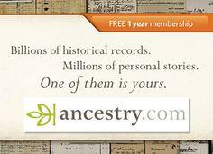 June 13/2012 - 1 year's free membership - Ancestry.com World Explorer