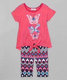 Another great find on #zulily! Neon Pink Butterfly Tie-Waist Top & Leggings - Toddler & Girls #zulilyfinds