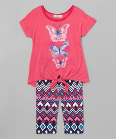Another great find on #zulily! Neon Pink Butterfly Tie-Waist Top & Leggings - Toddler & Girls #zulilyfinds