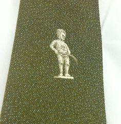 "Men's Necktie Tie Skinny Narrow Manneken Pis Statue Peeing Silk Green 2.25"" wide #MannekenPis #SkinnyTie"