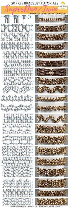 Glass SuperDuo or Twin Beads - 20 Easy Bracelet Techniques! - Free Tutorial (PDF) - Super Duo patternd -Czech Glass SuperDuo or Twin Beads - 20 Easy Bracelet Techniques! - Free Tutorial (PDF) - Super Duo patternd - Free pattern for necklace Tayana Bead Jewellery, Seed Bead Jewelry, Diy Jewelry, Jewelry Making, Jewelry Stores, Handmade Jewellery, Jewlery, Glass Jewelry, Handmade Bracelets