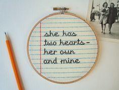 Love Letter No.2 cross stitch by notsomodernmillie on Etsy, $25.00