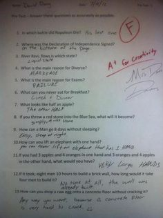 I think this kid is very, very smart - way to play off ambiguous sentences! :)