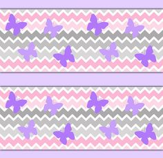 High Quality CHEVRON WALLPAPER BORDER Decals Grey Gray Pink Ombre Purple Butterfly Baby  Girl Nursery Wall Decor Kids