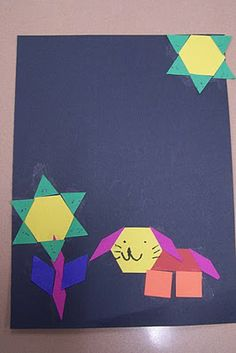 Students create a picture using geometric shape cutouts.  Then, they graph how many of each type of shape they used.