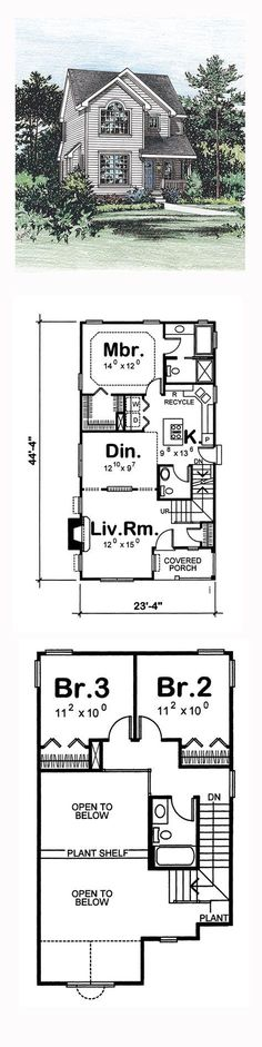 Narrow Lot House Plan 66628 | Total Living Area: 1395 sq. ft., 3 bedrooms and 2.5 bathrooms. #narrowlothome