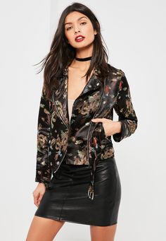 Missguided - Black Floral Print Biker Jacket 100% NEED THIS