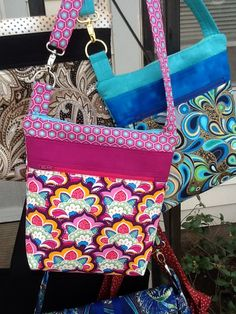 Unique handmade crossbody bags made with the Barbados pattern.