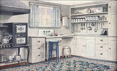 One hallmark of the 'teens and early 20s was the sanitary style in kitchens. Easy maintenance with particular attention to cleanliness as well as improved efficiency were the order of the day. This Armstrong kitchen ad was offered in conjunction with a publication by their interior advisor, Frank Alvah Parsons (after whom Parsons School of Design is named).