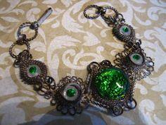 Vintage Filigree Link Egyptian Bracelet Green by charmingellie, $28.00