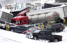 Emergency personnel work at the scene of a fatal crash near Fredericksburg, Pa., on Feb. 13, 2016.
