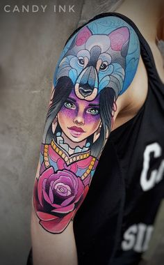 #neo #traditional #girl #wolf #rose #girly #tattoo