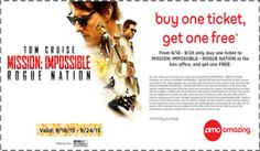 BOGO FREE Ticket to Mission Impossible Rogue Nation at AMC Theatres Coupon (9/18-9/24 Only) on http://hunt4freebies.com/coupons