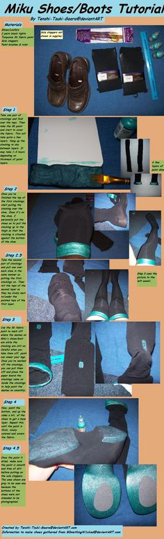 This is a tutorial for making original Miku Hatsune Shoes/Boots. I have credited the information to make the shoes to on the tutorial and have done so now here in the info. Easy Cosplay, Vocaloid Cosplay, Amazing Cosplay, Cosplay Ideas, Anime Cosplay, Anime Costumes, Diy Costumes, Cosplay Costumes, Cosplay Outfits