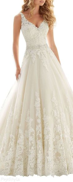 Kittybridal Beaded Lace Wedding Dress with Chapel Train Where to find wedding dresses? Follow @bigchoicenet to find more! #laceweddingdresses