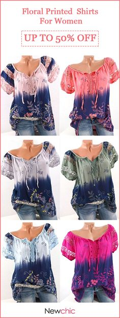 9 colors options! US size 4 to 16. Floral Printed V-neck Short Sleeve Shirts For Women. #plus #colors #women