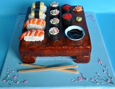 Been wanting to make a sushi cake for some time now, This was fun to make. Plus I got to do one of my favorite things when I cake decorate, paint. Birthday Cake Write Name, Birthday Cake Writing, Cakes That Look Like Food, Sushi Cake, Cake Central, Sushi Recipes, Sashimi, Themed Cakes, Let Them Eat Cake