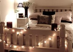 White Christmas Lights Around The Bed Post