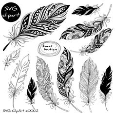 SVG Digital feathers Feathers Digital Clipart Feather