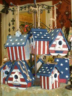 30 New Patriotic Decoration Ideas . Hosting An Americana Bash This Patriotic Centerpiece and Bird Houses Painted, Decorative Bird Houses, Bird Houses Diy, Painted Birdhouses, Patriotic Crafts, July Crafts, Bird House Kits, Bird Aviary, 4th Of July Decorations