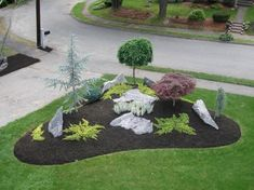 Awesome Modern Front Yard Design and Landscaping Ideas 33 Modern Front Yard, Small Front Yard Landscaping, Front Yard Design, Farmhouse Landscaping, Landscaping With Rocks, Outdoor Landscaping, Backyard Landscaping, Landscaping Design, Corner Landscaping Ideas