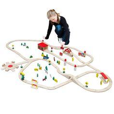 12476 Holzeisenbahn 210x130 cm über 8m Schienen mit vielen Extras; Brio Eichhorn Thomas IKEA kompatible Holzeisenbahn: Amazon.de: Spielzeug