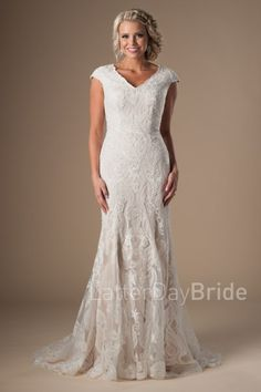 a6142fa8bfa5 Latter Day Bride modest wedding dresses with cap sleeves and hints of  sequined lace Wedding Dresses