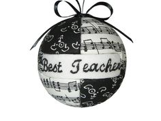 Best Teacher Quilted Ornament Black and White Sheet Music Notes on Etsy, $14.00