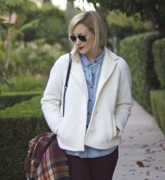 Nikki from My Style Diaries wears the Lands' End Boucle Jacket