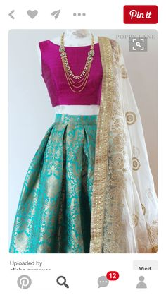 The Stylish And Elegant Lehenga Choli In Teal Green Colour Looks Stunning And Gorgeous With Trendy And Fashionable Raw Silk Brocade Fabric Looks Extremely Attractive And Can Add Charm To Any Occasion. Indian Attire, Indian Wear, India Fashion, Asian Fashion, Fashion Suits, Estilo India, Mode Bollywood, Do It Yourself Fashion, Desi Clothes