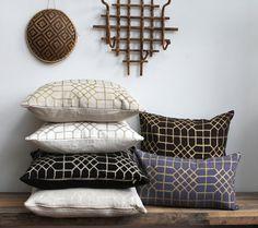 Penn Grid in metallic bronze hand printed on natural ecru organic hemp pillow cover 22x22