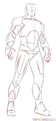How To Draw Iron Man Step By Step Drawing Tutorials For Kids And Beginners Zheleznyj Chelovek Kak Risovat Risunok